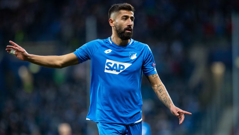 SINSHEIM, GERMANY - OCTOBER 02: Kerem Demirbay of Hoffenheim gestures during the Group F match of the UEFA Champions League between TSG 1899 Hoffenheim and Manchester City at Wirsol Rhein-Neckar-Arena on October 2, 2018 in Sinsheim, Germany. (Photo by Simon Hofmann/Getty Images)