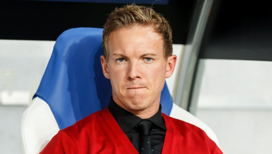 SINSHEIM, GERMANY - OCTOBER 02: Head coach Julian Nagelsmann of Hoffenheim looks on during the Group F match of the UEFA Champions League between TSG 1899 Hoffenheim and Manchester City at Wirsol Rhein-Neckar-Arena on October 2, 2018 in Sinsheim, Germany. (Photo by TF-Images/TF-Images via Getty Images)