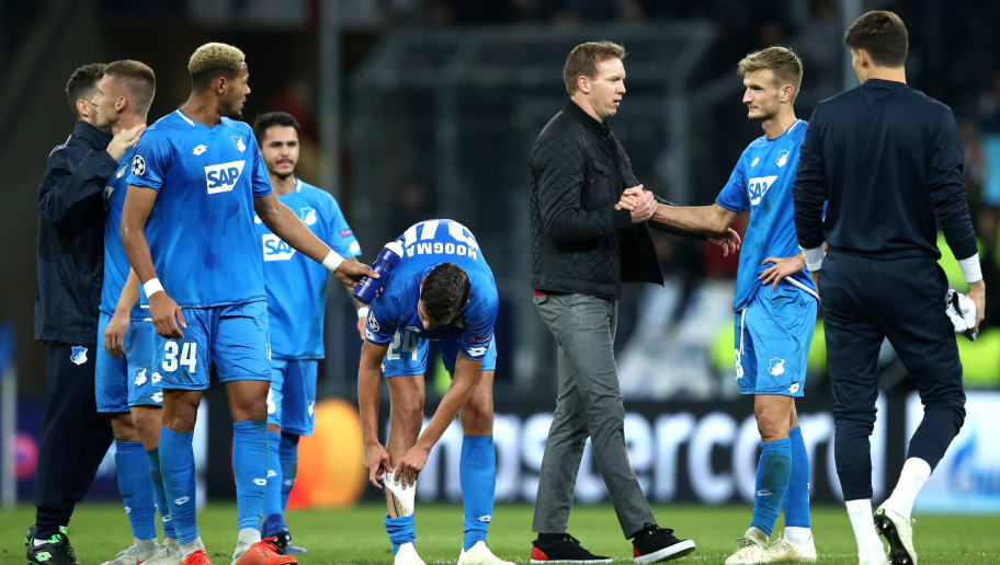 SINSHEIM, GERMANY - OCTOBER 02:  Julian Nagelsmann, Manager of 1899 Hoffenheim speaks with Stefan Posch of 1899 Hoffenheim after during the Group F match of the UEFA Champions League between TSG 1899 Hoffenheim and Manchester City at Wirsol Rhein-Neckar-Arena on October 2, 2018 in Sinsheim, Germany.  (Photo by Maja Hitij/Bongarts/Getty Images)