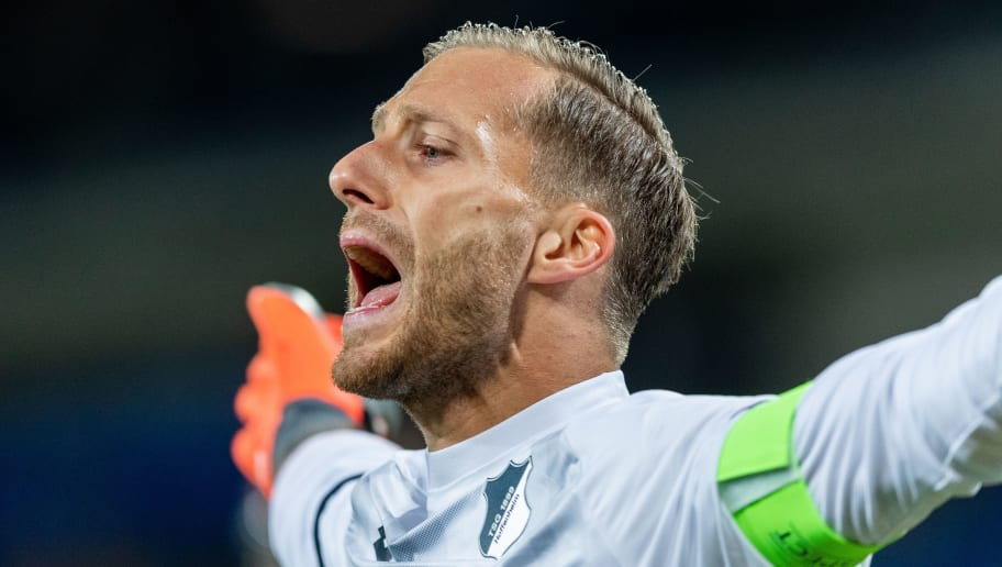 SINSHEIM, GERMANY - OCTOBER 02: goalkeeper Oliver Baumann of TSG Hoffenheim reacts during the Group F match of the UEFA Champions League between TSG 1899 Hoffenheim and Manchester City at Wirsol Rhein-Neckar-Arena on October 2, 2018 in Sinsheim, Germany. (Photo by Boris Streubel/Getty Images)