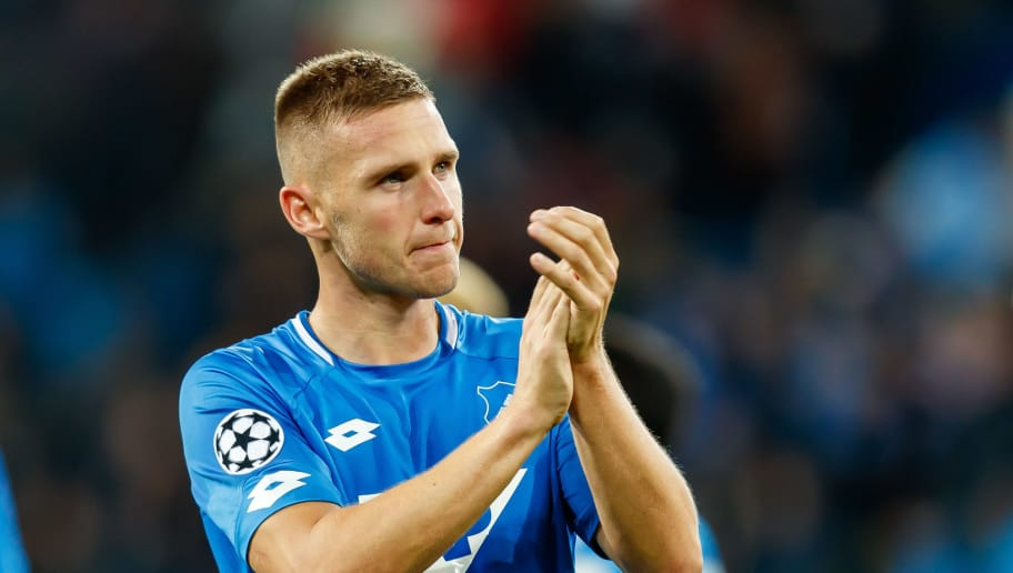 SINSHEIM, GERMANY - OCTOBER 02:   Pavel Kaderabek of Hoffenheim  gestures   during the Group F match of the UEFA Champions League between TSG 1899 Hoffenheim and Manchester City at Wirsol Rhein-Neckar-Arena on October 2, 2018 in Sinsheim, Germany. (Photo by TF-Images/TF-Images via Getty Images)
