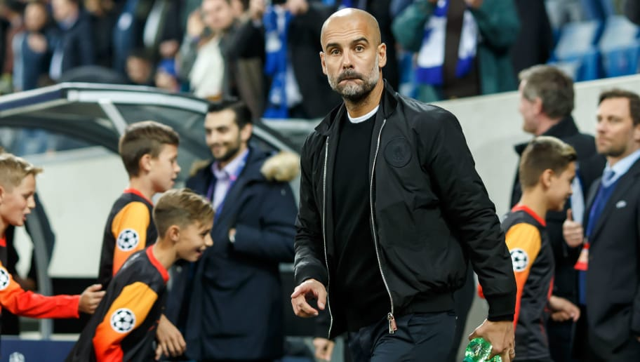 SINSHEIM, GERMANY - OCTOBER 02: Head coach Josep Guardiola of Manchester City looks on during the Group F match of the UEFA Champions League between TSG 1899 Hoffenheim and Manchester City at Wirsol Rhein-Neckar-Arena on October 2, 2018 in Sinsheim, Germany. (Photo by TF-Images/TF-Images via Getty Images)