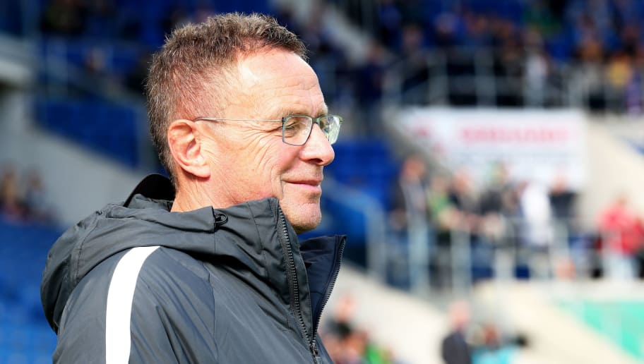 SINSHEIM, GERMANY - SEPTEMBER 29:  Ralf Rangnick, Manager of RB Leipzig looks on prior to the Bundesliga match between TSG 1899 Hoffenheim and RB Leipzig at Wirsol Rhein-Neckar-Arena on September 29, 2018 in Sinsheim, Germany.  (Photo by Christof Koepsel/Bongarts/Getty Images)
