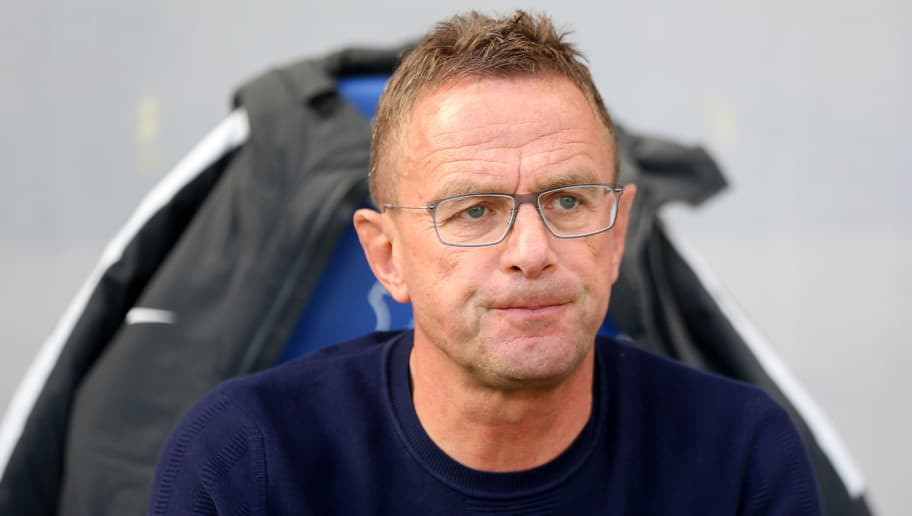 SINSHEIM, GERMANY - SEPTEMBER 29: Head coach Ralf Rangnick of Leipzig looks on during the Bundesliga match between TSG 1899 Hoffenheim and RB Leipzig at Wirsol Rhein-Neckar-Arena on September 29, 2018 in Sinsheim, Germany. (Photo by Christof Koepsel/Bongarts/Getty Images)