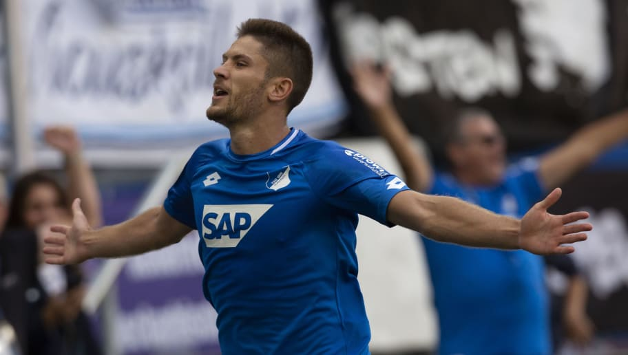 SINSHEIM, GERMANY - SEPTEMBER 01: Andrej Kramaric of Hoffenheim celebrates after scoring during the Bundesliga match between TSG 1899 Hoffenheim and Sport-Club Freiburg at Wirsol Rhein-Neckar-Arena on September 1, 2018 in Sinsheim, Germany. (Photo by Juergen Schwarz/Bongarts/Getty Images)
