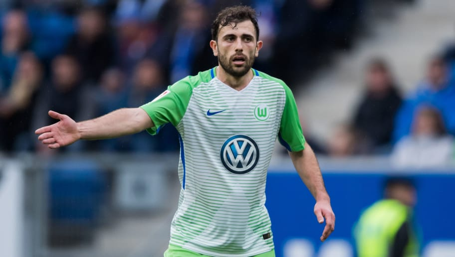 SINSHEIM, GERMANY - MARCH 10: Admir Mehmedi of Wolfsburg gestures during the Bundesliga match between TSG 1899 Hoffenheim and VfL Wolfsburg at Wirsol Rhein-Neckar-Arena on March 10, 2018 in Sinsheim, Germany. (Photo by Simon Hofmann/Getty Images)