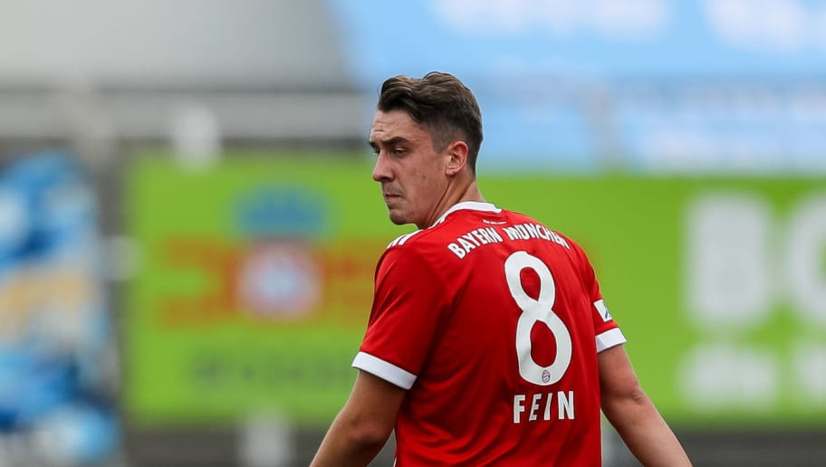 MUNICH, GERMANY - OCTOBER 22: Adrian Fein of Bayern Muenchen looks on during the match between TSV 1860 Muenchen and Bayern Muenchen II at Stadion an der Grünwalder Straße on October 22, 2017 in Munich, Germany. (Photo by TF-Images/TF-Images via Getty Images)