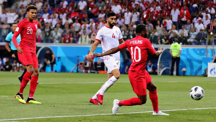 VOLGOGRAD, RUSSIA - JUNE 18: Raheem Sterling of England takes a shot during the 2018 FIFA World Cup Russia group G match between Tunisia and England at Volgograd Arena on June 18, 2018 in Volgograd, Russia.  (Photo by Chris Brunskill/Fantasista/Getty Images)