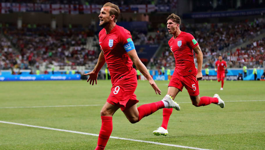 VOLGOGRAD, RUSSIA - JUNE 18:  Harry Kane of England celebrates after scoring his sides first goal during the 2018 FIFA World Cup Russia group G match between Tunisia and England at Volgograd Arena on June 18, 2018 in Volgograd, Russia.  (Photo by Chris Brunskill/Fantasista/Getty Images)