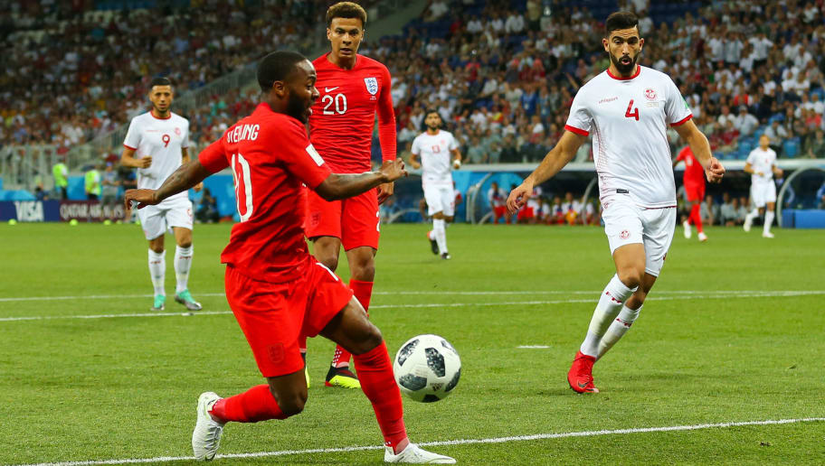 VOLGOGRAD, RUSSIA - JUNE 18:   Raheem Sterling of England reacts to a missed chance during the 2018 FIFA World Cup Russia group G match between Tunisia and England at Volgograd Arena on June 18, 2018 in Volgograd, Russia. (Photo by Robbie Jay Barratt - AMA/Getty Images)