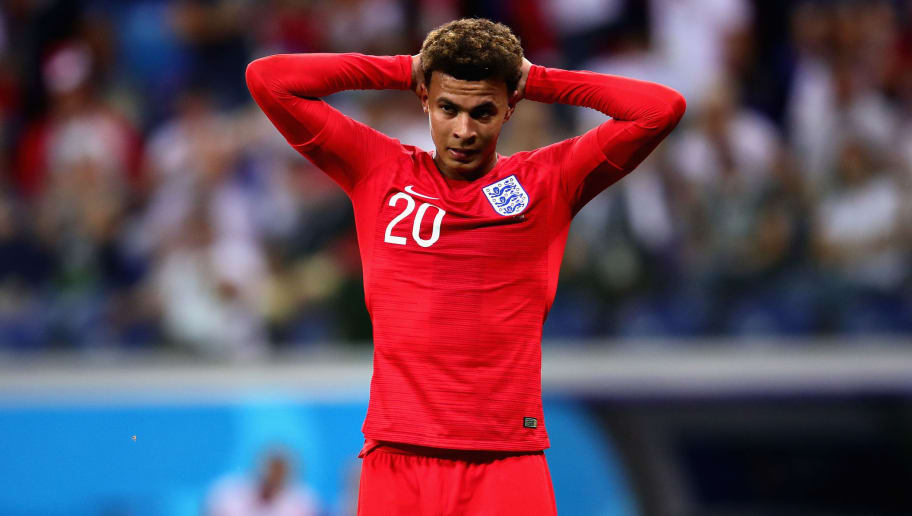 VOLGOGRAD, RUSSIA - JUNE 18: Dele Alli of England reacts during the 2018 FIFA World Cup Russia group G match between Tunisia and England at Volgograd Arena on June 18, 2018 in Volgograd, Russia.  (Photo by Chris Brunskill/Fantasista/Getty Images)