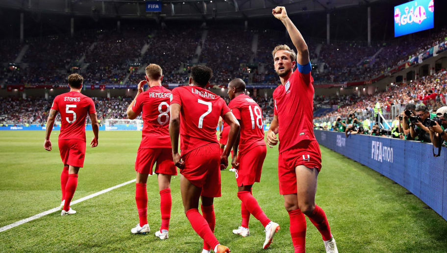 VOLGOGRAD, RUSSIA - JUNE 18:  Harry Kane of England celebrates after scoring his sides second goal during the 2018 FIFA World Cup Russia group G match between Tunisia and England at Volgograd Arena on June 18, 2018 in Volgograd, Russia.  (Photo by Chris Brunskill/Fantasista/Getty Images)
