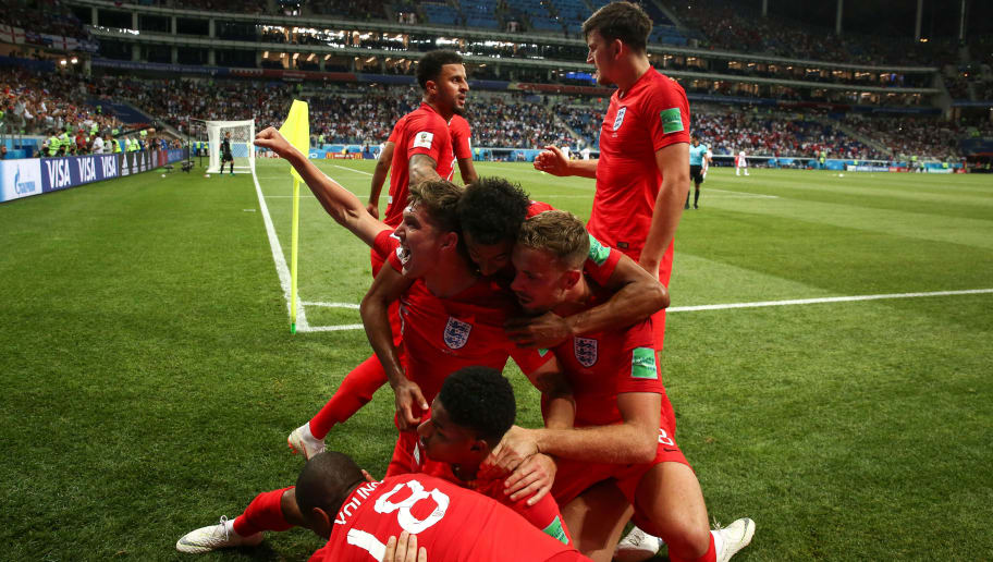 VOLGOGRAD, RUSSIA - JUNE 18: Harry Kane of England celebrates after scoring a goal to make it 1-2 during the 2018 FIFA World Cup Russia group G match between Tunisia and England at Volgograd Arena on June 18, 2018 in Volgograd, Russia. (Photo by Robbie Jay Barratt - AMA/Getty Images)