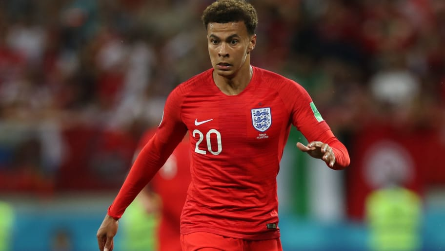 VOLGOGRAD, RUSSIA - JUNE 18: Dele Alli of England is seen during the 2018 FIFA World Cup Russia group G match between Tunisia and England at Volgograd Arena on June 18, 2018 in Volgograd, Russia. (Photo by Ian MacNicol/Getty Images)