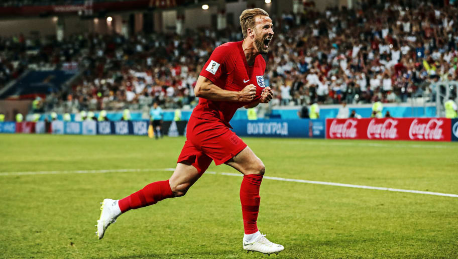 VOLGOGRAD, RUSSIA - JUNE 18: Harry Kane of England  celebrates after he scores his team's second goal during the 2018 FIFA World Cup Russia group G match between Tunisia and England at Volgograd Arena on June 18, 2018 in Volgograd, Russia. (Photo by Ian MacNicol/Getty Images)