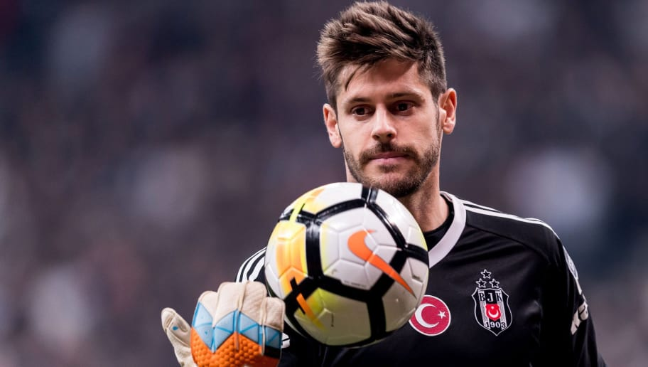 goalkeeper Fabricio Agosto Ramirez of Besiktas JK during the Turkish Spor Toto Super Lig football match between Besiktas JK and Evkur Yeni Malatyaspor on April 22, 2018 at the Vodafone Arena in Istanbul, Turkey(Photo by VI Images via Getty Images)