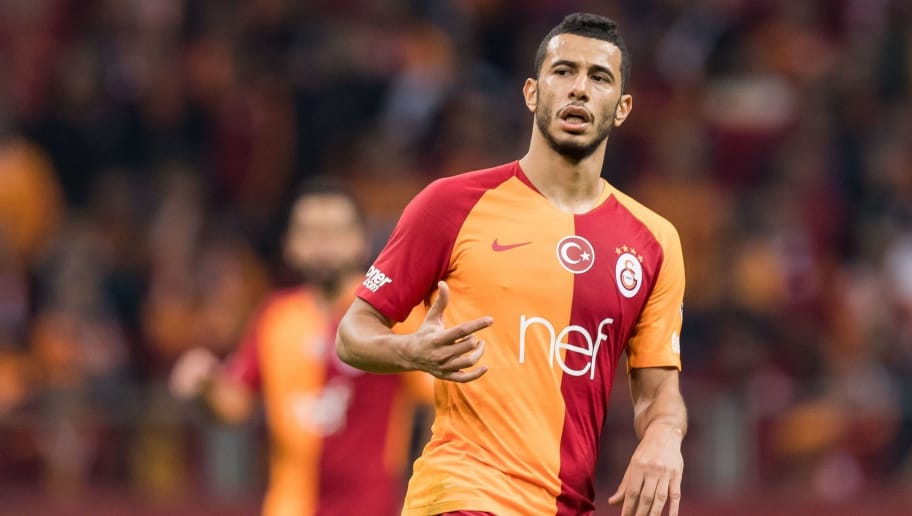 Younes Belhanda of Galatasaray SK during the Turkish Spor Toto Super Lig football match between Galatasaray SK and Fenerbahce AS at the Türk Telekom Arena on November 02, 2018 in Istanbul, Turkey.(Photo by VI Images via Getty Images)