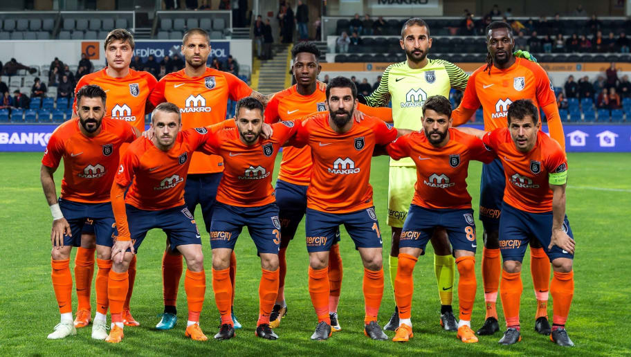 (BL-R) Alexandru Epureanu of Istanbul Medipol Basaksehir FK, Manuel da Costa of Istanbul Medipol Basaksehir FK, Eljero George Rinaldo Elia of Istanbul Medipol Basaksehir FK, goalkeeper Volkan Babacan of Istanbul Medipol Basaksehir FK, Sheyi Emmanuel Adebayor of Istanbul Medipol Basaksehir FK (FL-R) Mahmut Tekdemir of Istanbul Medipol Basaksehir FK, Edin Visca of Istanbul Medipol Basaksehir FK, Alparslan Erdem of Istanbul Medipol Basaksehir FK, Arda Turan of Istanbul Medipol Basaksehir FK, Uilson De Souza Paula Junior of Istanbul Medipol Basaksehir FK, Emre Belozoglu of Istanbul Medipol Basaksehir FK during the Turkish Spor Toto Super Lig football match between Medipol Basaksehir FK and Kayserispor on April 21, 2018 at the Fatih Terim stadium in Istanbul, Turkey(Photo by VI Images via Getty Images)