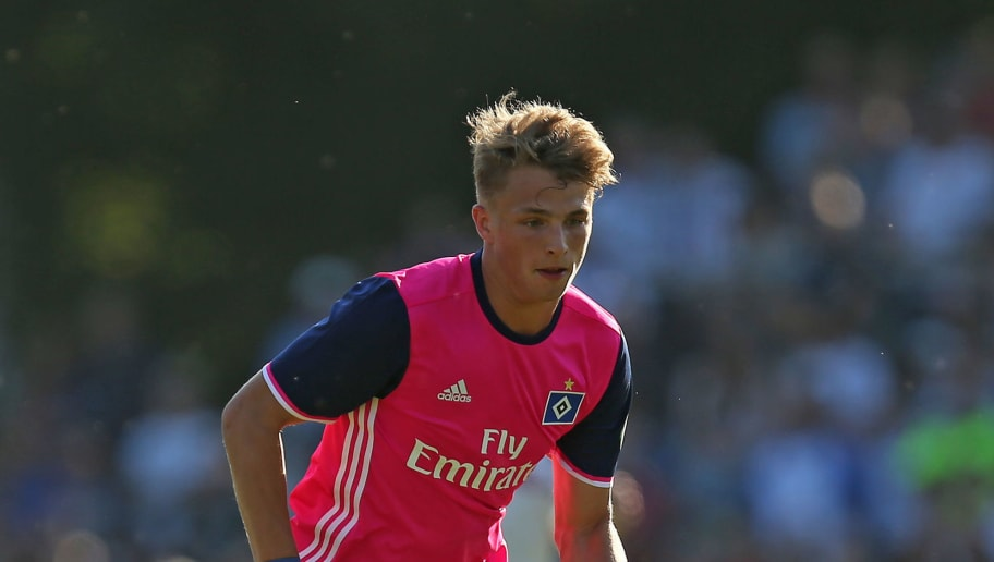 HAMBURG, GERMANY - JULY 04: Jann Fiete Arp of Hamburg controls the ball during the Friendly match between TUS Dassendorf and Hamburger SV on July 4, 2018 in Hamburg, Germany. (Photo by TF-Images/Getty Images)