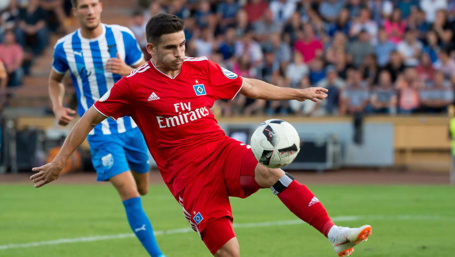 SIEGEN, GERMANY - AUGUST 18: Jairo Samperio of Hamburger SV controls the ball during the DFB Cup first round match between TuS Erndtebrueck and Hamburger SV at Leimbachstadion on August 18, 2018 in Siegen, Germany. (Photo by TF-Images/Getty Images)