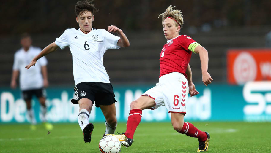 HADERSLEV, DENMARK - OCTOBER 05:  Max Brandt (L) of Germany and Mads Bidstrup (R) of Denmark compete for the ball during the Mens U17 international friendly match between Denmark and Germany at Sydbank Park Stadion on October 5, 2017 in Haderslev, Denmark.  (Photo by Oliver Hardt/Bongarts/Getty Images)
