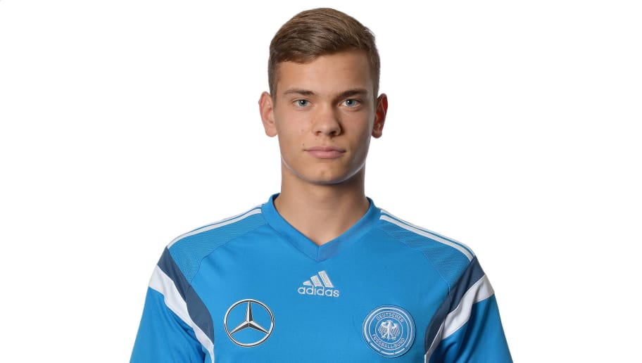 DUESSELDORF, GERMANY - NOVEMBER 08:  Leon Schaffran poses during the U18 Germany Team Presentation at Maritim Airport Hotel on November 8, 2015 in Duesseldorf, Germany.  (Photo by Sascha Steinbach/Bongarts/Getty Images)
