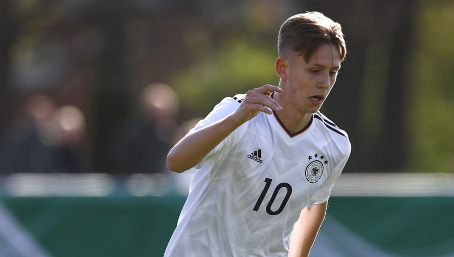 HELMSTEDT, GERMANY - APRIL 17: Torben Muesel of Germany during the international friendly match between U18 Germany and U18 Austria at Maschstadion on April 17, 2017 in Helmstedt, Germany. (Photo by Joachim Sielski/Bongarts/Getty Images)