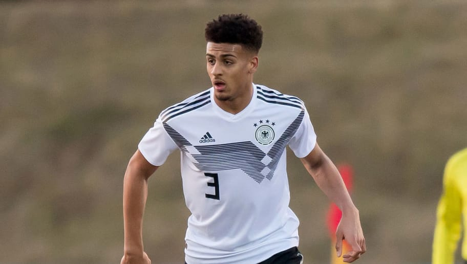 EILENBURG, GERMANY - MARCH 23: Josha Vagnoman of Germany in action during the Under 18 international friendly match between U18 of Germany and U18 of France at Ilburg Stadium on March 23, 2018 in Eilenburg, Germany. (Photo by Thomas Eisenhuth/Bongarts/Getty Images)