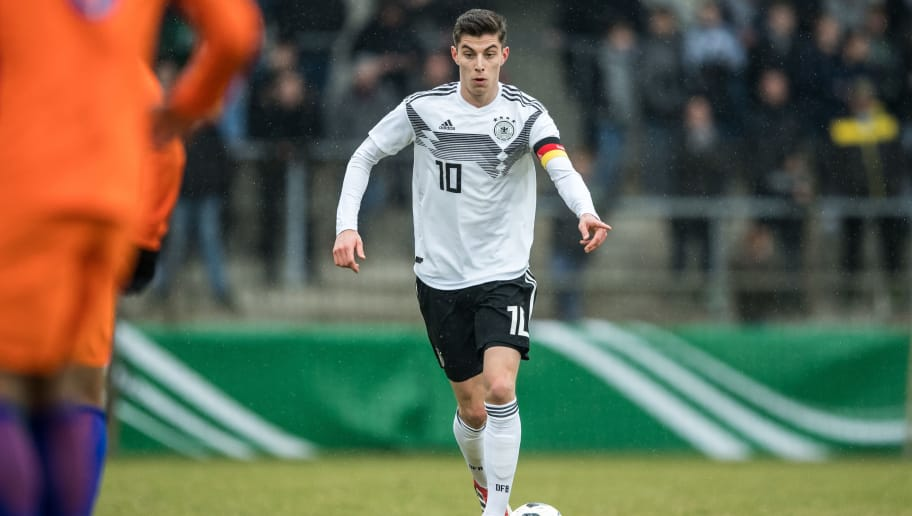 AHLEN, GERMANY - MARCH 27: Kai Havertz of Germany in action during the Under 19 Euro Qualifier between Germany and Netherlands on March 27, 2018 in Ahlen, Germany. (Photo by Lukas Schulze/Bongarts/Getty Images)