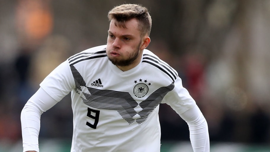 ARNSBERG, GERMANY - MARCH 24: Manuel Wintzheimer of Germany runs with the ball during the UEFA Under19 European Championship Qualifier match between Germany and Norway at Stadion Grosse Wiese on March 24, 2018 in Huesten, Germany. The match between Germany and Norway ended 2-5. (Photo by Christof Koepsel/Bongarts/Getty Images)