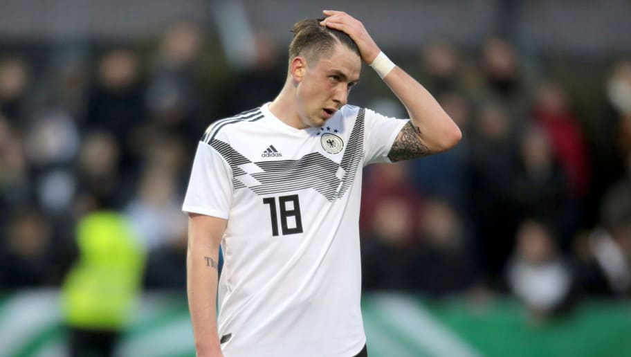 LIPPSTADT, GERMANY - MARCH 21: Adrian Fein of Germany reacts after the Under 19 Euro Qualifier between Germany and Scotland on March 21, 2018 in Lippstadt, Germany. (Photo by Juergen Schwarz/Bongarts/Getty Images)