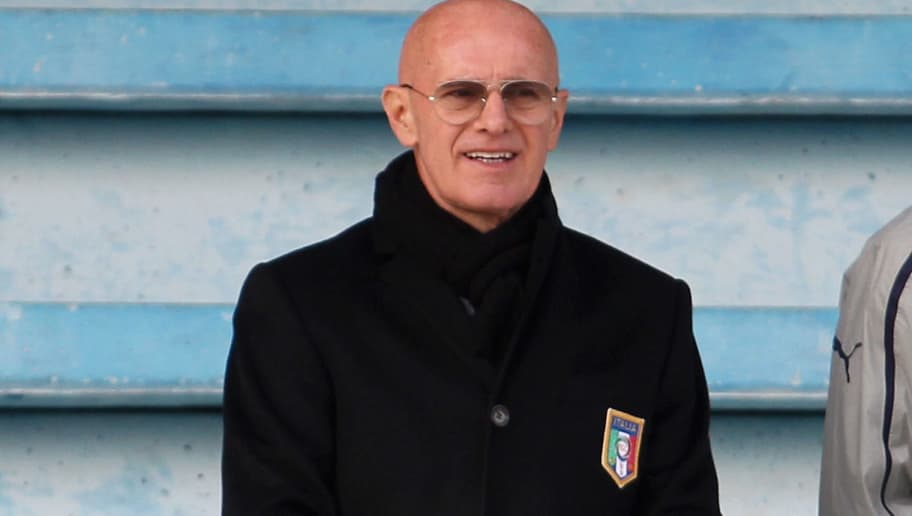 BARI, ITALY - FEBRUARY 06:  Arrigo Sacchi looks on during Under 19 International Friendly match between Italy and Germany at Stadio Comunale San Pio on February 6, 2013 in Santo Spirito near Bari, Italy.  (Photo by Maurizio Lagana/Bongarts/Getty Images)