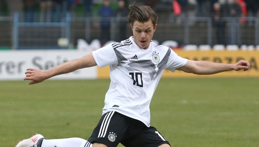 GUETERSLOH, GERMANY - MARCH 27: Patrick Kammerbauer of Germany kicks the ball during the international friendly match between U20 Germany and U20 Poland at Energieversum Stadion im Heidewald on March 27, 2018 in Guetersloh, Germany. (Photo by Joachim Sielski/Bongarts/Getty Images) *** Local Caption *** Patrick Kammerbauer