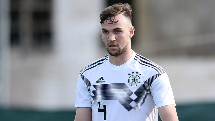 COIMBRA, PORTUGAL - MARCH 22: Benedikt Gimber of Germany in action during the Under 20 International Friendly match between U20 of Portugal and U20 of Germany at stadium Municipal Sergio Conceicao on March 22, 2018 in Coimbra, Portugal. (Photo by Octavio Passos/Bongarts/Getty Images)