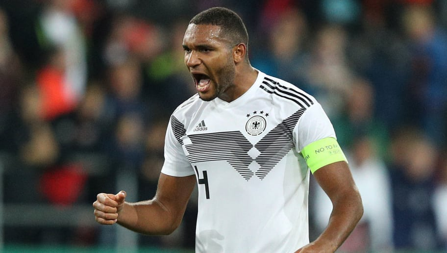 INGOLSTADT, GERMANY - OCTOBER 12:  Jonathan Tah of Germany celebrates at the final whistle during the 2019 UEFA Under 21 European Championship Qualifier between Germany U21 and Norway U21 at Audi Sportpark on October 12, 2018 in Ingolstadt, Germany.ç (Photo by Adam Pretty/Bongarts/Getty Images)
