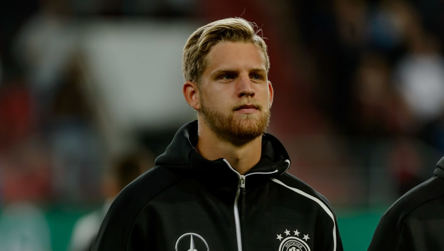 INGOLSTADT, GERMANY - OCTOBER 12: Arne Maier of Germany looks on prior the 2019 UEFA Under21 European Championship Qualifier match between U21 Germany and U21 Norway at Audi Sportpark on October 12, 2018 in Ingolstadt, Germany. (Photo by TF-Images/Getty Images)