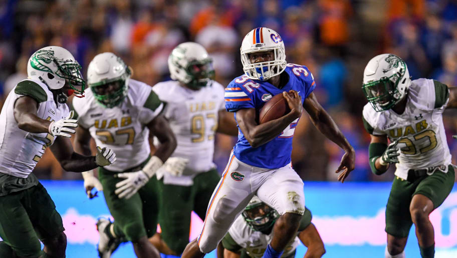 GAINESVILLE, FL - NOVEMBER 18: Adarius Lemons #32 of the Florida Gators carries during the fourth quarter of the game against the UAB Blazers at Ben Hill Griffin Stadium on November 18, 2017 in Gainesville, Florida. (Photo by Rob Foldy/Getty Images)