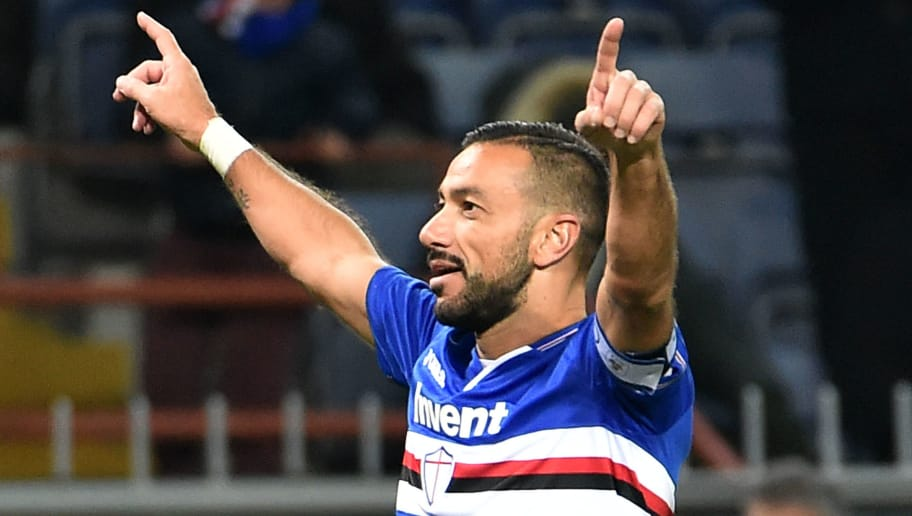 GENOA, ITALY - DECEMBER 01: Fabio Quagliarella of Sampdoria celebrates after goal 4-1 during the Serie A match between UC Sampdoria and Bologna FC at Stadio Luigi Ferraris on December 2, 2018 in Genoa, Italy. (Photo by Paolo Rattini/Getty Images)
