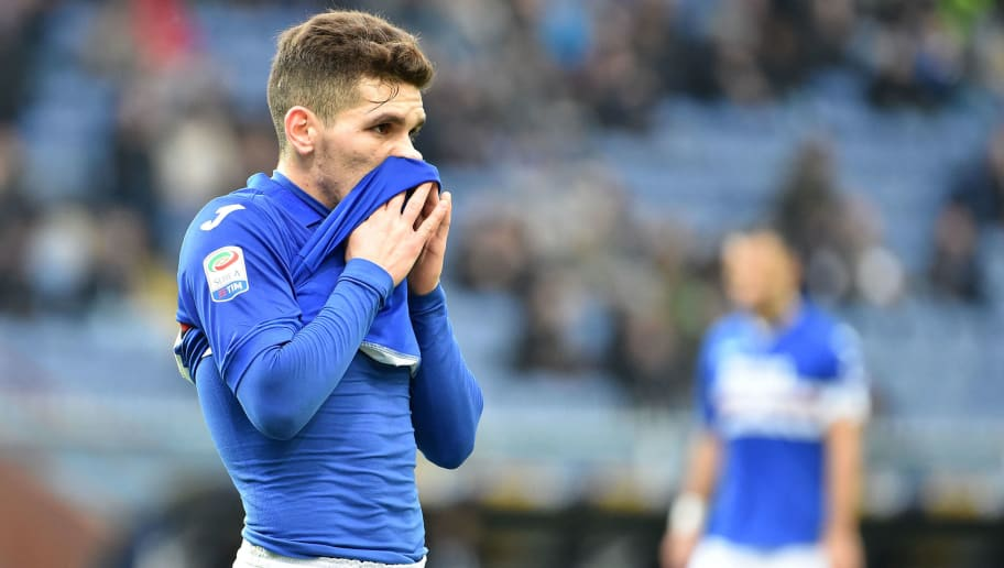 GENOA, GE - DECEMBER 30:  Luis Torreira of Sampdoria reacts during the serie A match between UC Sampdoria and Spal at Stadio Luigi Ferraris on December 30, 2017 in Genoa, Italy.  (Photo by Paolo Rattini/Getty Images)
