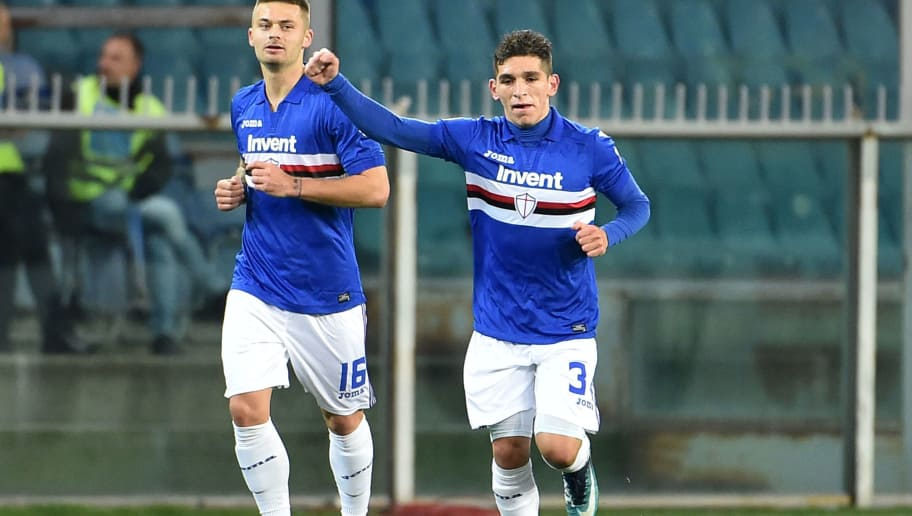 GENOA, GE - FEBRUARY 03:  Lucas Torreira of Sampdoria celebrate after score 1-0 during the serie A match between UC Sampdoria and Torino FC at Stadio Luigi Ferraris on February 3, 2018 in Genoa, Italy.  (Photo by Paolo Rattini/Getty Images)