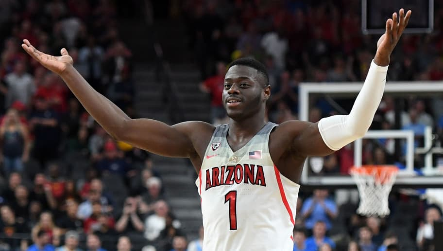 LAS VEGAS, NV - MARCH 09:  Rawle Alkins #1 of the Arizona Wildcats celebrates on the court near the end of a semifinal game of the Pac-12 basketball tournament against the UCLA Bruins at T-Mobile Arena on March 9, 2018 in Las Vegas, Nevada. The Wildcats won 78-67 in overtime.  (Photo by Ethan Miller/Getty Images)