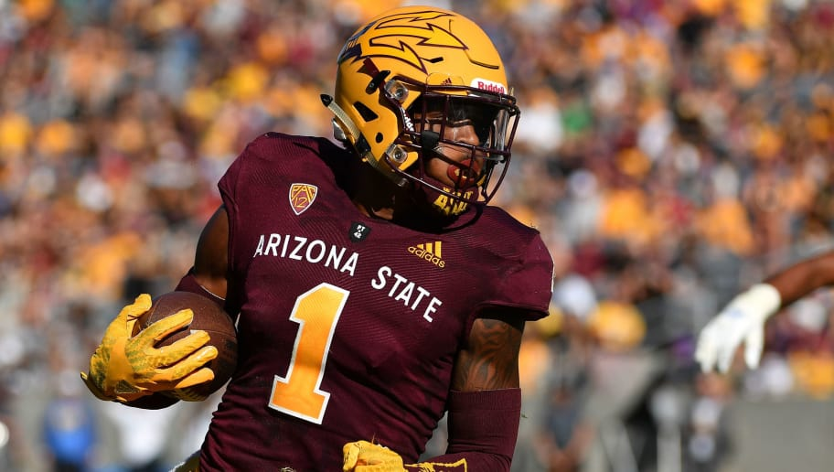 TEMPE, AZ - NOVEMBER 10:  Wide receiver N'Keal Harry #1 of the Arizona State Sun Devils carries in the second half against the UCLA Bruins at Sun Devil Stadium on November 10, 2018 in Tempe, Arizona. The Arizona State Sun Devils won 31-28. (Photo by Jennifer Stewart/Getty Images)
