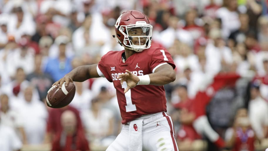 NORMAN, OK - SEPTEMBER 08: Quarterback Kyler Murray #1 of the Oklahoma Sooners looks to throw against the UCLA Bruins at Gaylord Family Oklahoma Memorial Stadium on September 8, 2018 in Norman, Oklahoma. (Photo by Brett Deering/Getty Images)
