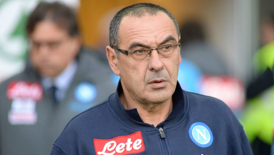 UDINE, ITALY - NOVEMBER 26: Head coach of Napoli Maurizio Sarri looks on during the Serie A match between Udinese Calcio and SSC Napoli at Stadio Friuli on November 26, 2017 in Udine, Italy. (Photo by Dino Panato/Getty Images)