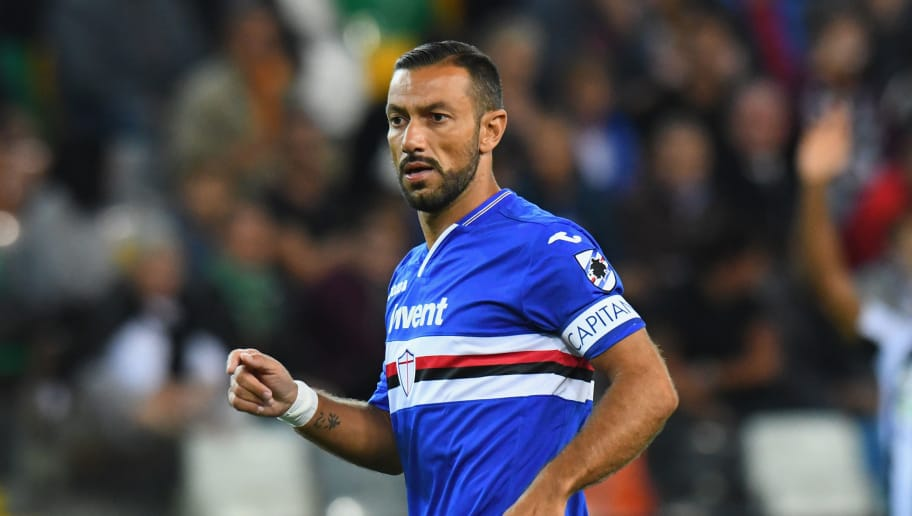 UDINE, ITALY - AUGUST 26:  Fabio Quagliarella of UC Sampdoria looks on during the serie A match between Udinese and UC Sampdoria at Stadio Friuli on August 26, 2018 in Udine, Italy.  (Photo by Alessandro Sabattini/Getty Images)