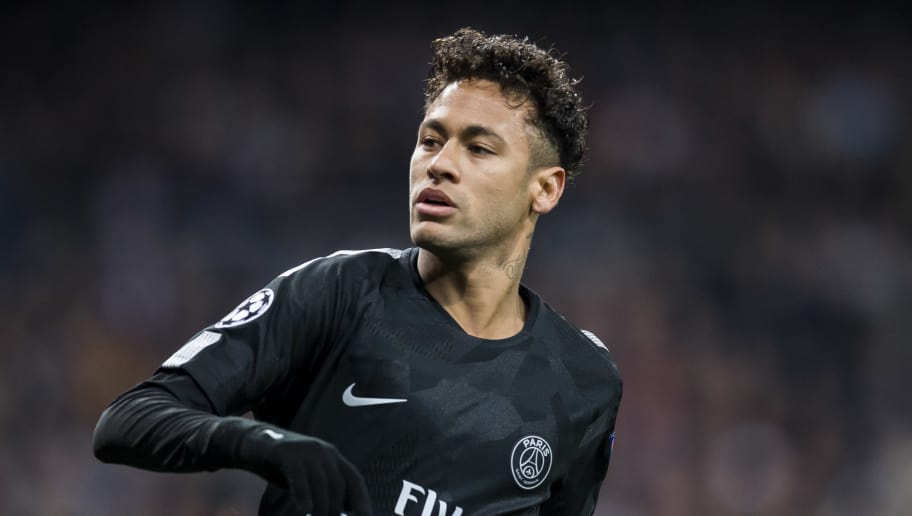 MADRID, SPAIN - FEBRUARY 14: Neymar da Silva Santos Junior, Neymar Jr, of Paris Saint Germain reacts during the UEFA Champions League 2017-18 Round of 16 (1st leg) match between Real Madrid vs Paris Saint Germain at Estadio Santiago Bernabeu on February 14 2018 in Madrid, Spain. (Photo by Power Sport Images/Getty Images)