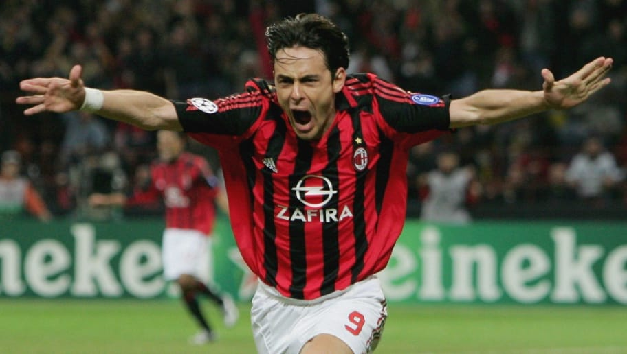 MILAN, ITALY - APRIL 04:  Fiippo Inzaghi of AC Milan celebrates scoring the winner during the UEFA Champions League Quarter Final Second Leg match between AC Milan and Lyon at the San Siro Stadium on April 4,  2006 in Milan, Italy.  (Photo by Laurence Griffiths/Getty Images)