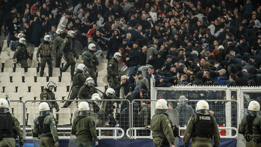 Police fighting with Ajax supporters during the UEFA Champions League group E match between AEK FC and Ajax Amsterdam at the OAKA Spyros Louis on November 27, 2018 in Athens, Greece(Photo by VI Images via Getty Images)
