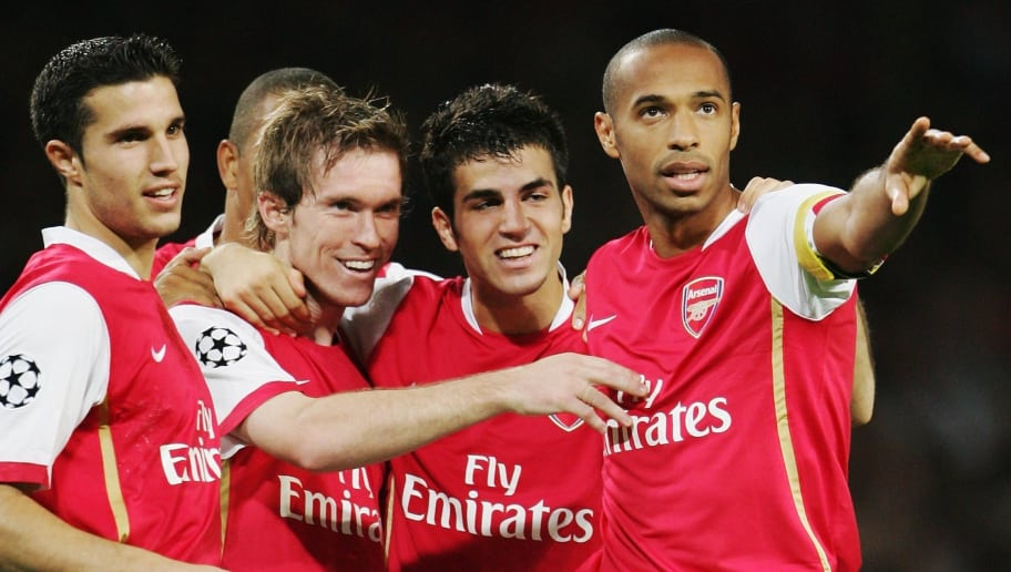 LONDON - SEPTEMBER 26:  Alexander Hleb (2nd left) of Arsenal celebrates scoring the second goal with team mates Robin Van Persie (1st left), Francesc Fabregas (2nd right) and Thierry Henry (right)  during the UEFA Champions League Group G match between Arsenal and FC Porto at The Emirates Stadium on September 26, 2006 in London, England.  (Photo by Phil Cole/Getty Images)
