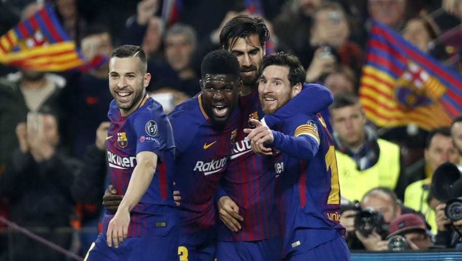 (l-r) Jordi Alba of FC Barcelona, Samuel Umtiti of FC Barcelona, Aleix Vidal of FC Barcelona, Lionel Messi of FC Barcelona during the UEFA Champions League round of 16 match between FC Barcelona and Chelsea FC at the Camp Nou stadium on March 14, 2018 in Barcelona, Spain.(Photo by VI Images via Getty Images)